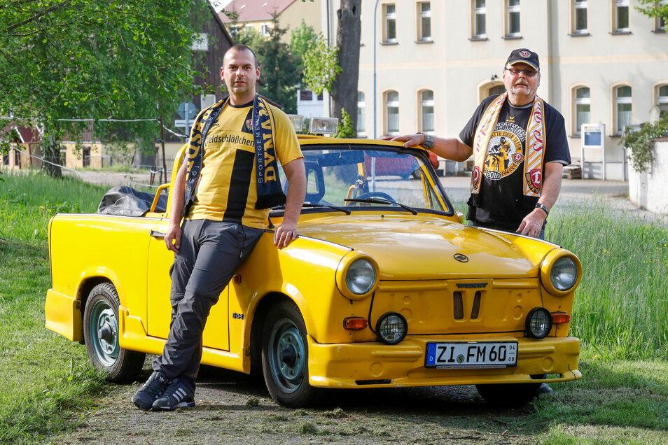 In ihnen fließt schwarz-gelbes Blut. Sohn Marcus aus Schönau-Berzdorf und Vater Matthias aus Schlegel sind eingefleischte Dynamo-Dresden-Fans.