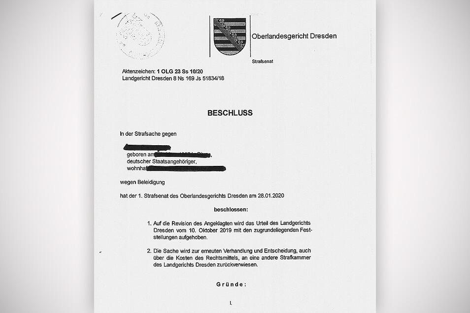 Per Beschluss hatte das Oberlandesgericht Dresden das Urteil des Landgerichtes aufgehoben. Eine andere Kammer des Landgerichtes beschäftigte sich nun erneut mit dem Fall.