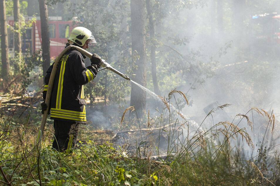 Die Löscharbeiten im Wald gestalteten sich schwierig. Im dichten Holz musste der Weg zum Brandherd erst freigesägt werden.