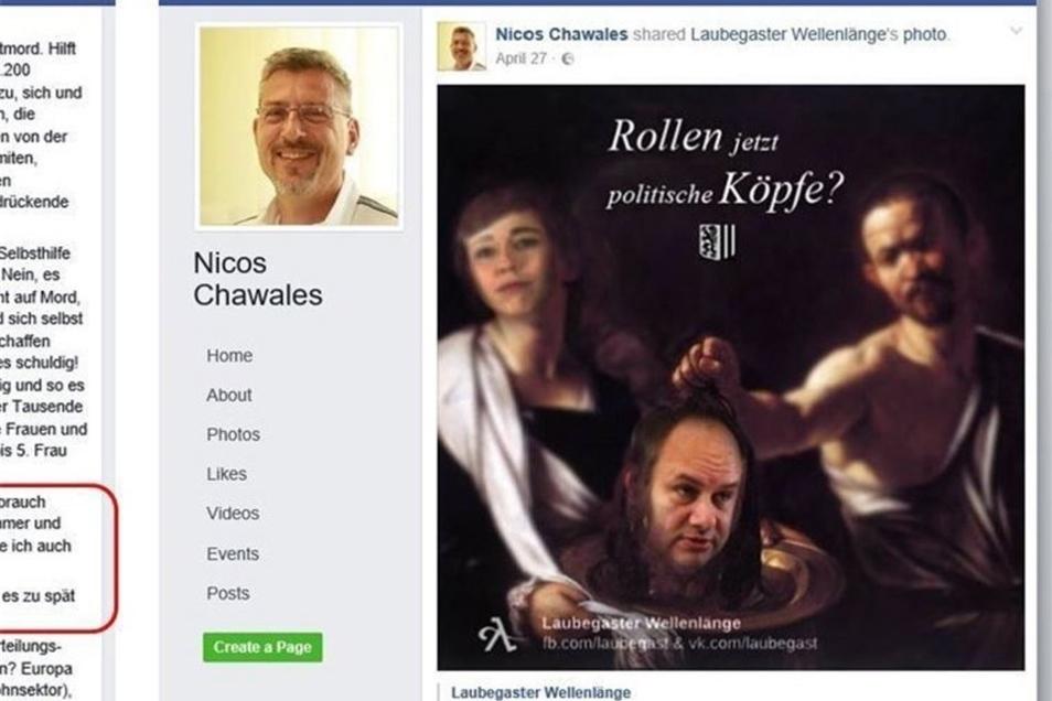 Auf seiner Facebook-Seite macht er Stimmung gegen Flüchtlinge und Politiker wie OB Dirk Hilbert.