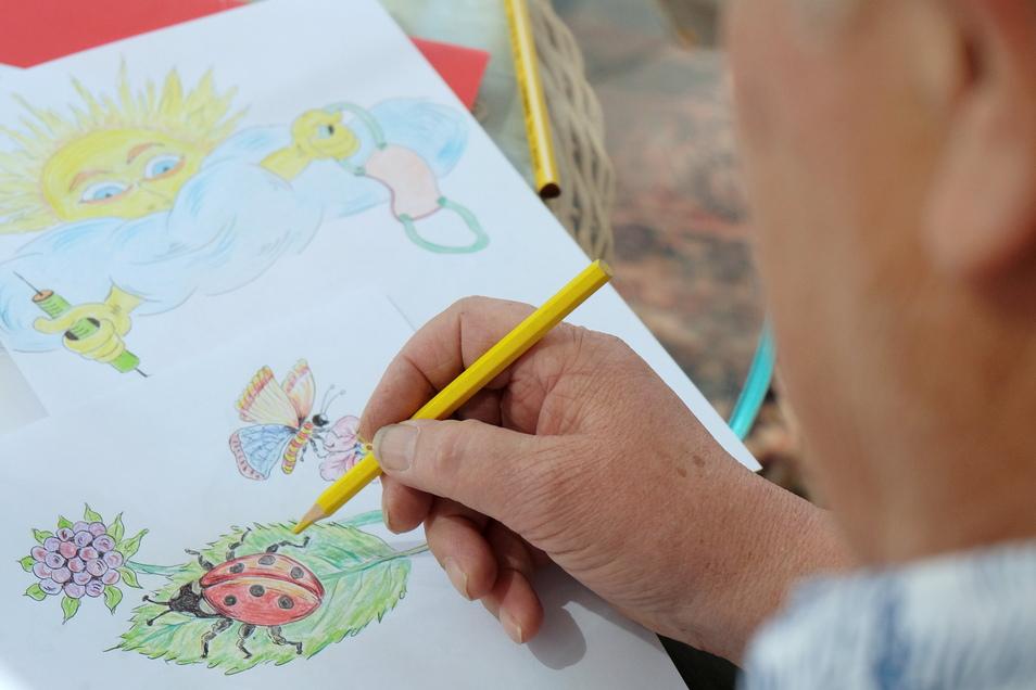Ein Rentner aus Lommatzsch schreibt Briefe und malt Zeichnungen zur Aufmuntertung in schweren Zeiten.
