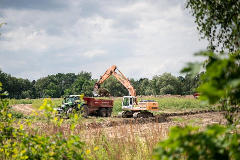Augenscheinlich finden auf dem Kiesabbau-Gelände am nördlichen Ortsrand von Hagenwerder aktuell Vorbereitungsarbeiten statt.