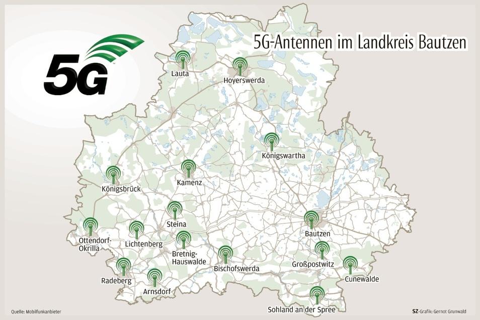 An 16 Standorten im Kreis Bautzen ist 5G bereits verfügbar - an einigen Standorten stehen gleich mehrere Antennen.