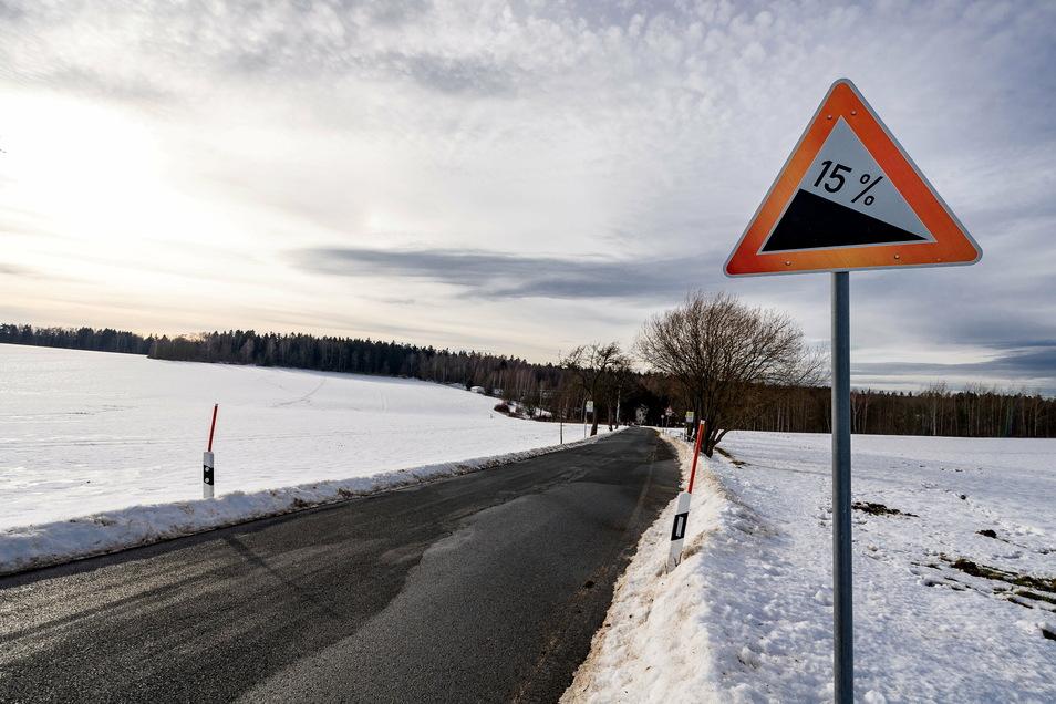Die Umleitung über den Schweizermühlenberg hat es in sich: rund 15 Prozent Gefälle.
