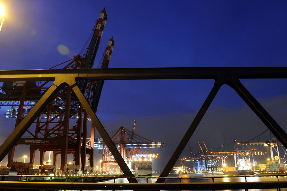 Containerschiffe liegen am Containerterminal Eurogate im Hafen von Hamburg.
