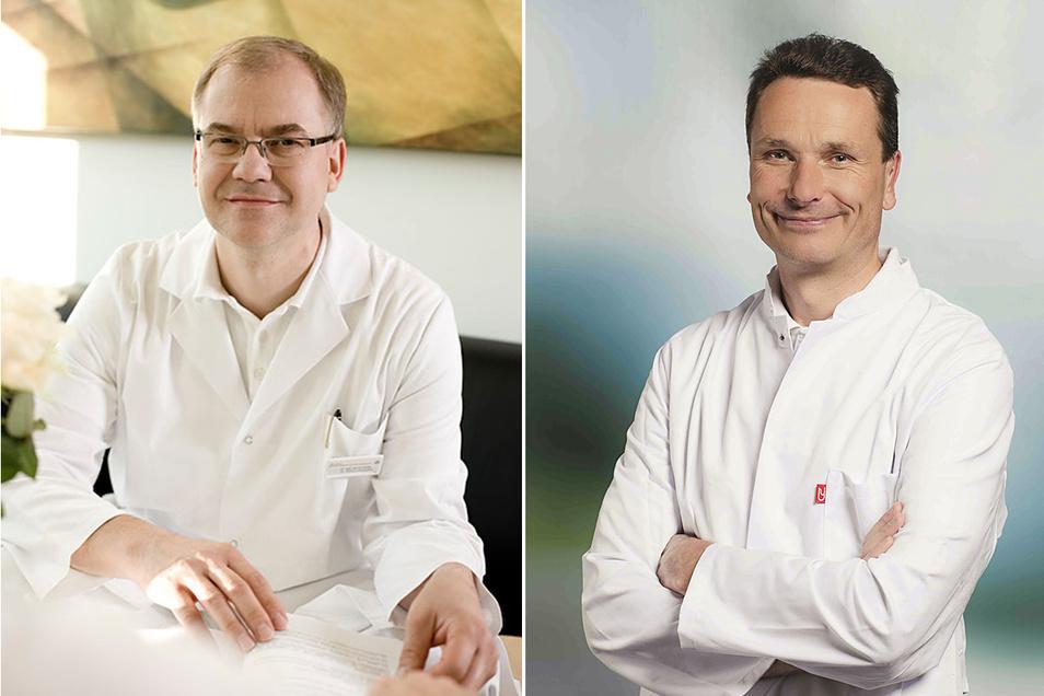Dr. med. Bernd Hantke (l.) hat die ärztliche Direktion übernommen. Dr. med. Achim Ziegenbalg ist kommissarischer Chefarzt in der Asklepios-Hohwald-Klinik.