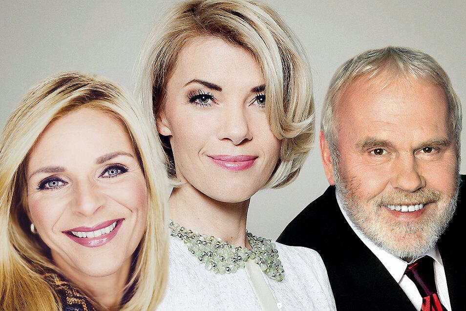Gunther Emmerlich, Uta Bresan (l.) und Sylvie Piela werden auf der exklusiven SZ-Weihnachts-CD zu hören sein.