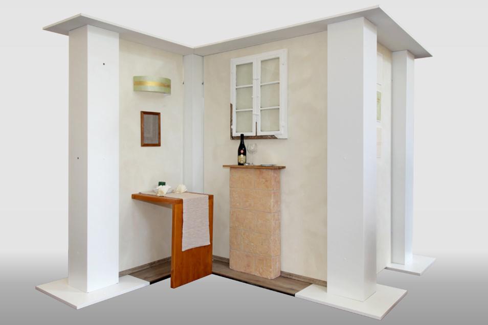 Das Meisterstück von Rebecca Epperlein: Die Wände der Modell-Restaurantnische hat sie naturnah gestaltet.