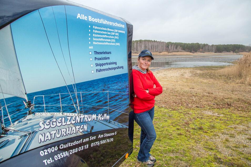 Aurelia Kalz hat als Segellehrerin auf dem Quitzdorfer Stausee derzeit nicht viel zu tun. Langeweile hat sie aber trotzdem nicht..
