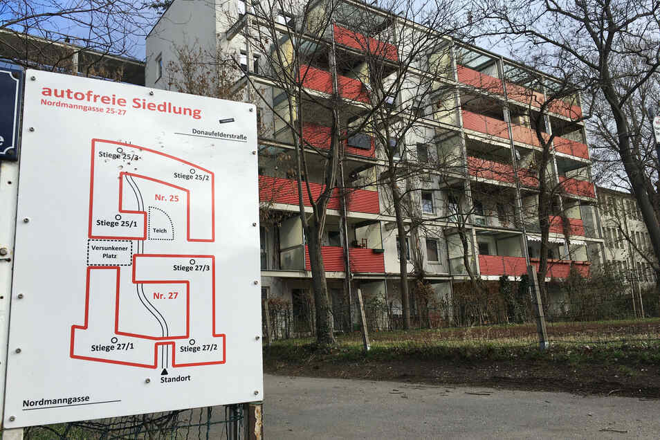 Ein Lageplan in der autofreien Mustersiedlung in Wien-Floridsdorf.