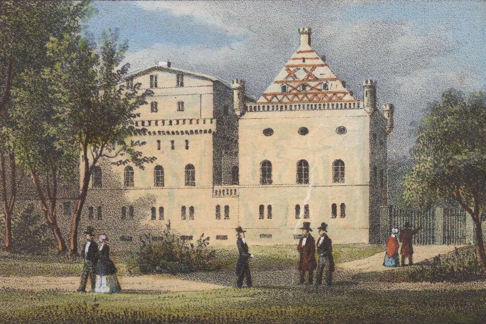 Historische Ansicht der Brauerei mit dem Gasthaus zum Niederländischen Hofe, eine Lithografie von Gustav Täubert um 1850.