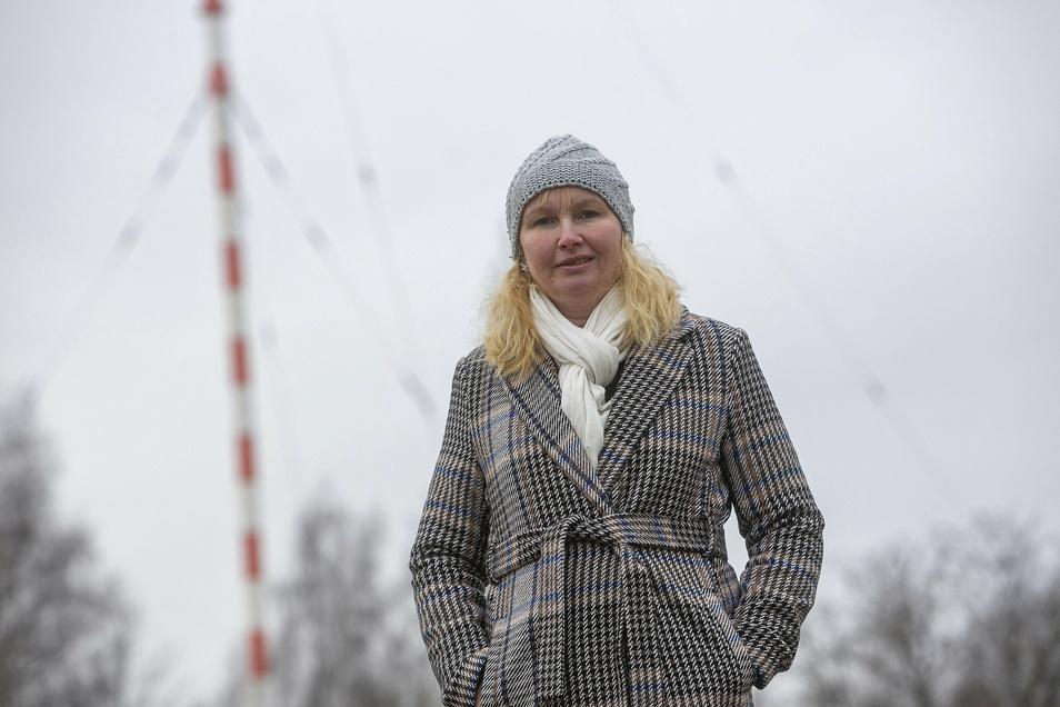 Sabine Neumann leitet den Förderverein Funkturm Wilsdruff. Dieses Foto entstand fast genau vor einem Jahr vor der Antenne.