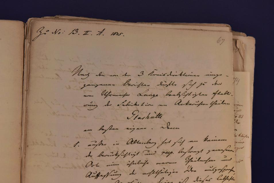 Das ist das Dokument des sächsischen Innenministeriums, das zeigt, warum man sich 1845 für die Stadt Glashütte als Standort für die Uhrenindustrie in Sachsen entschieden hat.