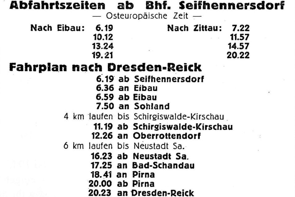 Mit dem Zug ging es im Juli 1945 von Seifhennersdorf über Sohland, Neustadt, Bad Schandau und Pirna mit Fußmarsch-Unterbrechungen nach Dresden. Die Seifhennersdorfer Eisenbahnfreunde bewahrten dieses Zeitdokument.