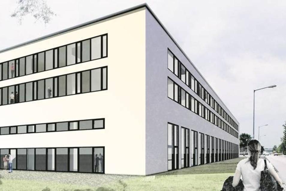 So schick soll die Außenstelle der Technischen Universität Dresden in Pirna-Copitz in gut einem Jahr aussehen.  Visualisierung: SIB/LTHX Architekten