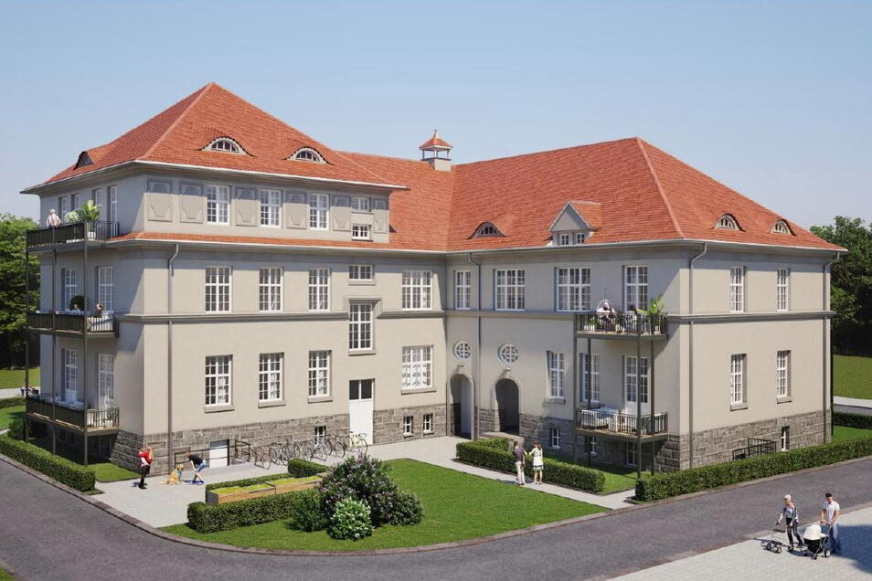 So stellt sich der Investor das frühere Militärgebäude auf dem Garnisonsplatz in Kamenz vor, in dem Wohnungen entstehen sollen. Derzeit steht das Objekt leer.
