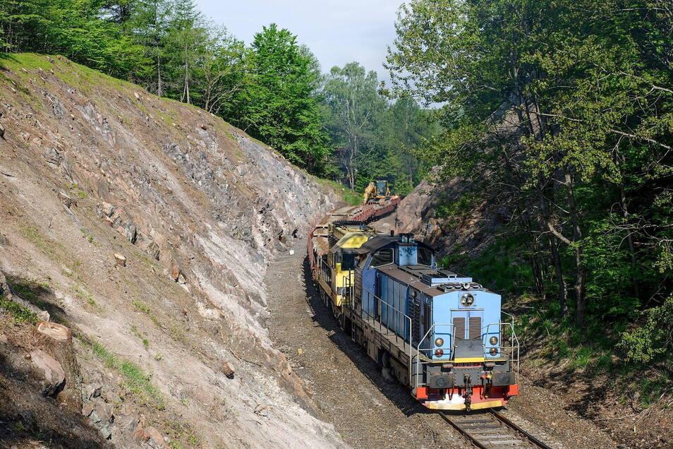 Bis Anfang Juli werden auf der Strecke Bahnschwellen und Schienen ausgetauscht.