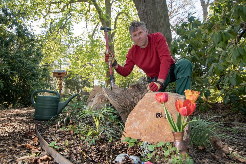 Sebastian Markert ist Friedhofsmeister in Hartha. Er kümmert sich unter anderem um die Pflege des Bereiches für naturnahe Baumbestattungen, die immer beliebter werden.