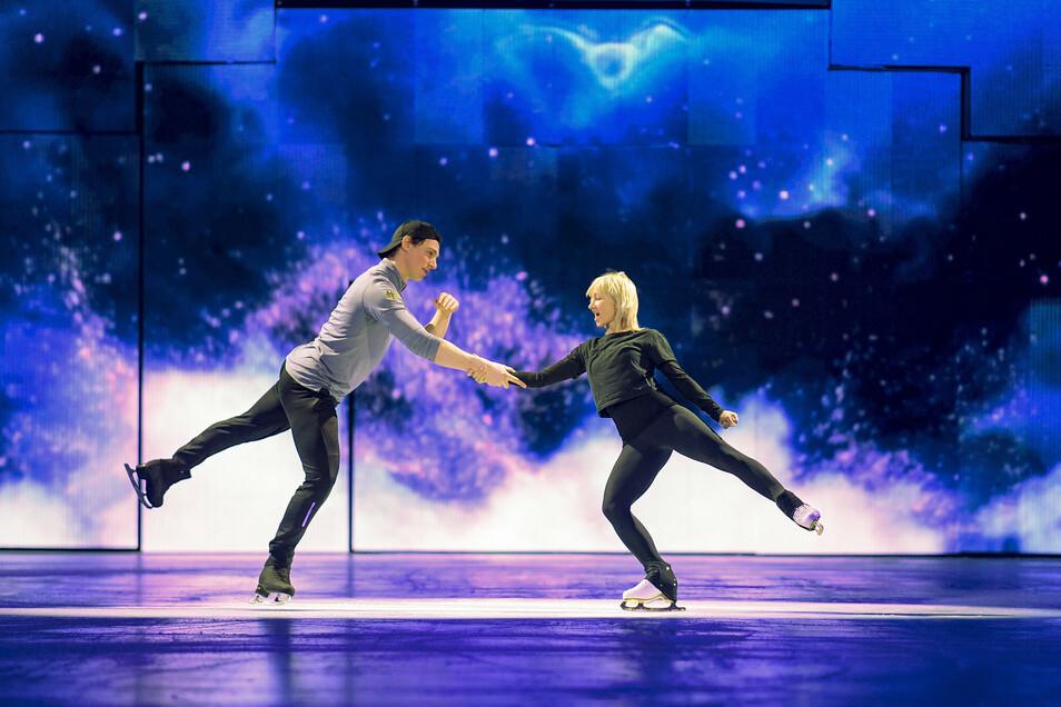 Bruno Massot und Aljona Savchenko proben für die Show ·Holiday on Ice.