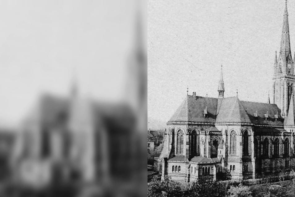 """Die Pfarrkirche """"Mariä Heimsuchung"""" Zittau, historische Ansicht von 1910."""