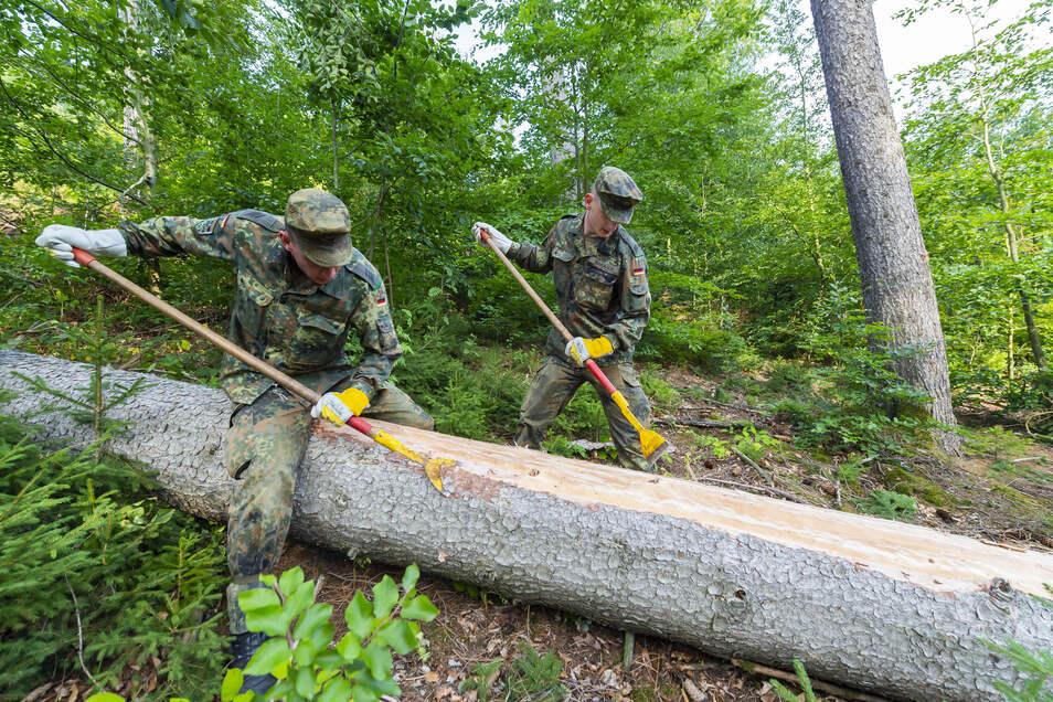 Stabsgefreite Dominik Banasch und Nils Trentschel beim Schäler der frisch geschlagenen Bäume