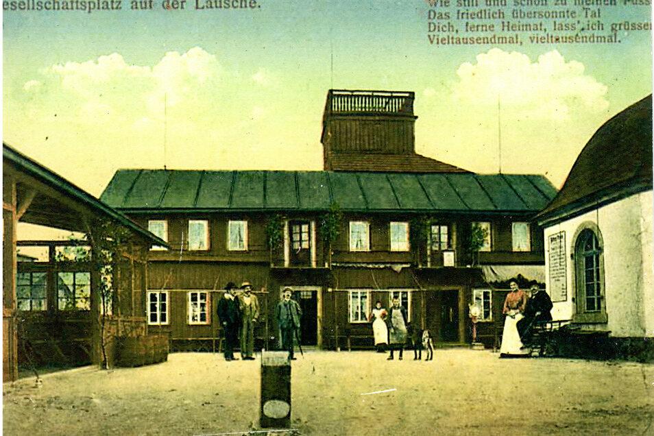 Eine historische Postkarte von der alten Lauschebaude.
