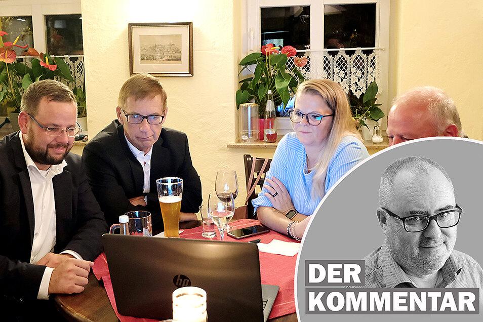 Da hatte er noch Hoffnung: Sebastian Fischer (CDU) mit Unterstützern am Wahlabend im Lokal Goldener Anker in Meißen. Am Ende verliert er gegen Barbara Lenk (AfD). Die Gründe sind komplex.