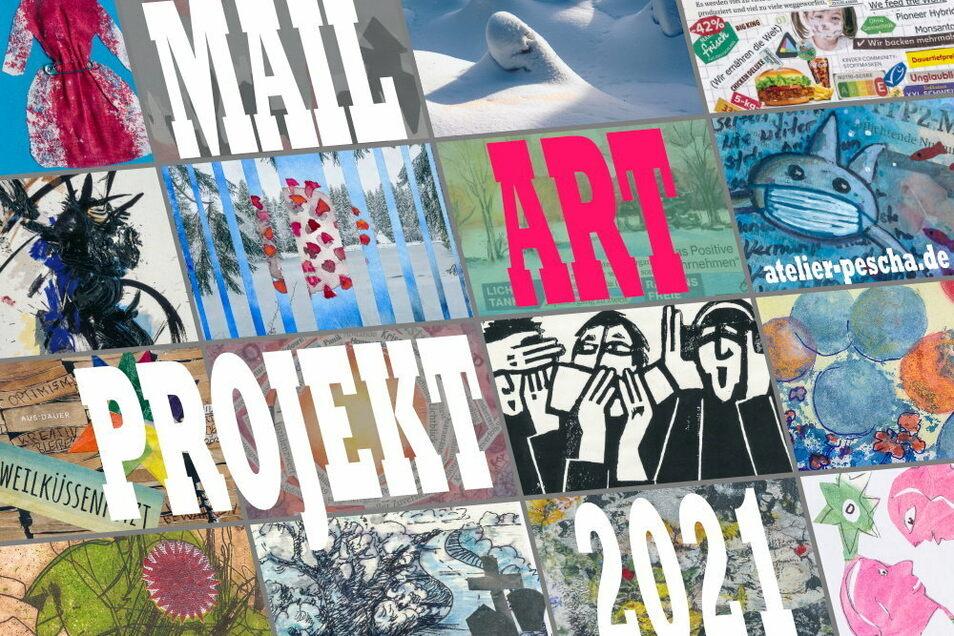 """Die Malerinnen und Grafikerinnen Anita Voigt (Dresden) und Petra Schade sowie der Fotograf Burkhard Schade (beide in Radeburg) haben ein Mail-Art-Projekt zum Thema """"Im Lockdown"""" gestartet."""