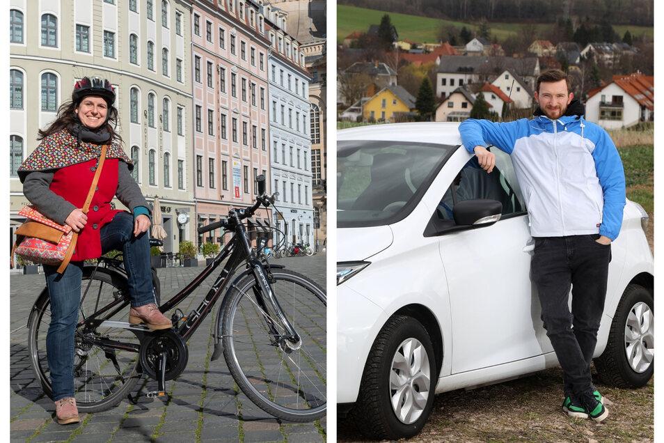 Fahrrad oder Auto - Nadine Kadic und Sven Saalfrank-Mittenzwei verglichen für Sächsische.de ihre Mobilität.