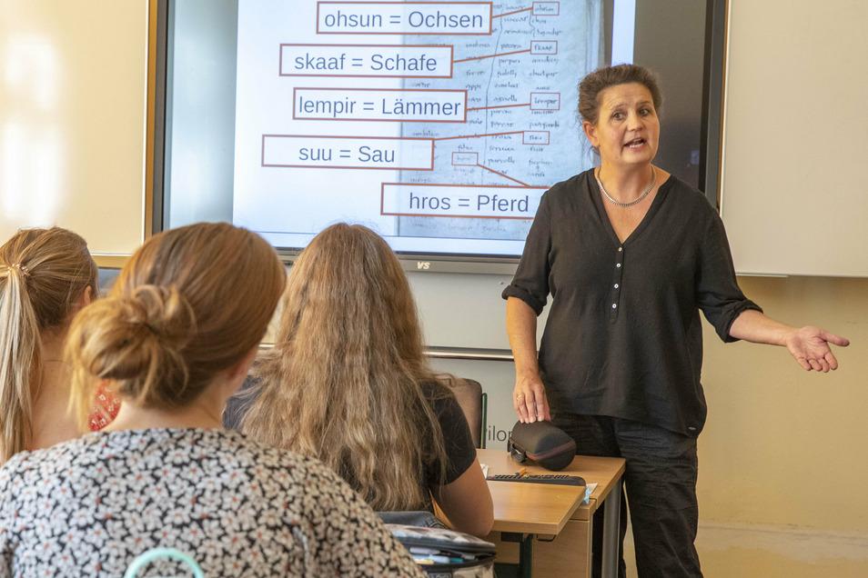 Germanistin Aletta Leipold referiert im Städtischen Gymnasium über die Ursprünge der deutschen Sprache.