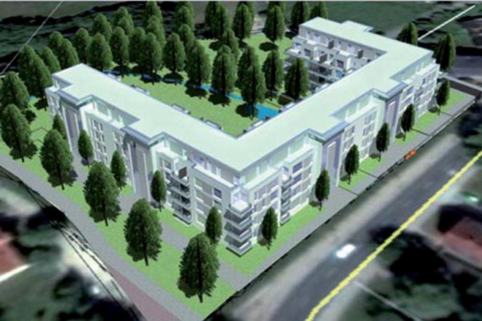 So könnte das neue Wohngebäude an der Pulsnitzer Straße in Radeberg aussehen. Es ist U-förmig angelegt und umgibt einen grünen Innenhof. Früher befand sich unter anderem die Firma Polypack auf dem Gelände.