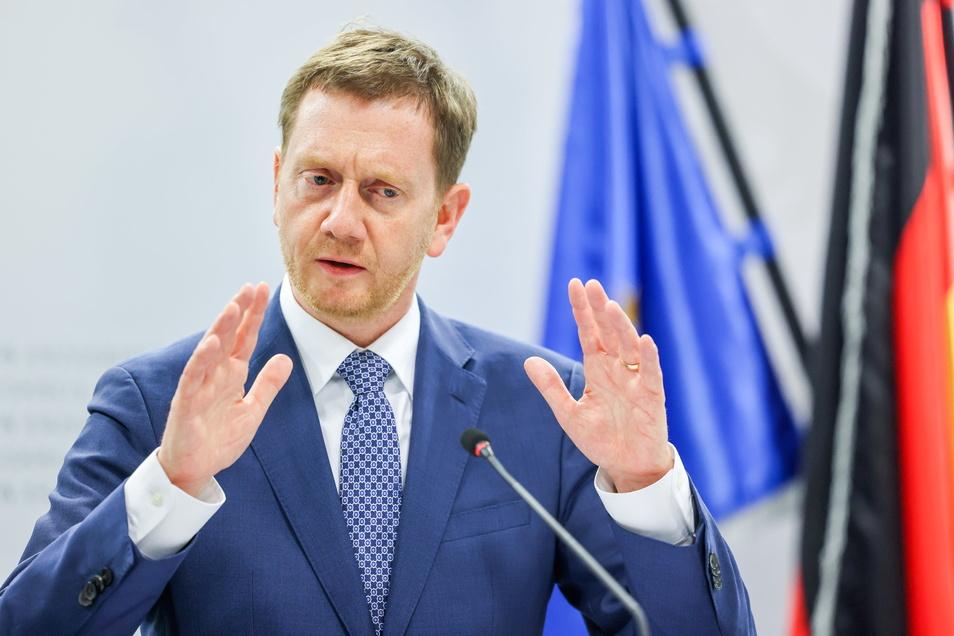 """Michael Kretschmer (CDU), Ministerpräsident von Sachsen, kritisiert: """"Die Bundesnotbremse hat viel Aufregung ausgelöst."""""""