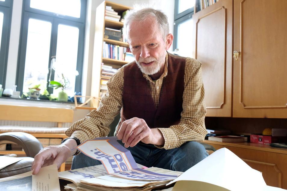 Bernd Callwitz hat viele Unterlagen zur Gründung des ersten Betriebsrates in Meißen vor 30 Jahren aufbewahrt.