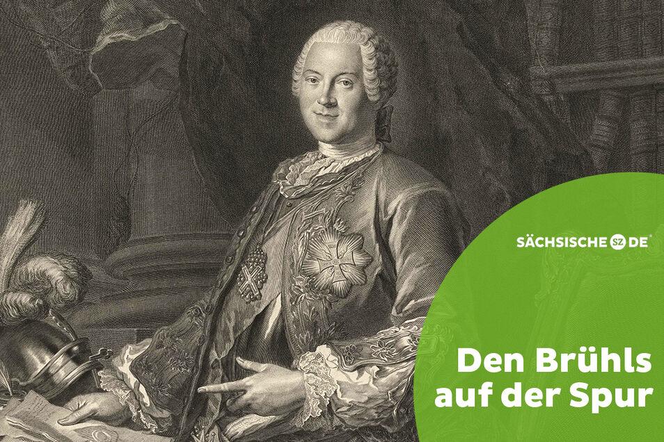 Heinrich von Brühl, 1737 in den Reichsgrafenstand erhoben (hier auf einem Kupferstich von Jean-Joseph Balechou nach Louis de Silvestre), war auch zuständig für die Privatangelegenheiten von August dem Starken.