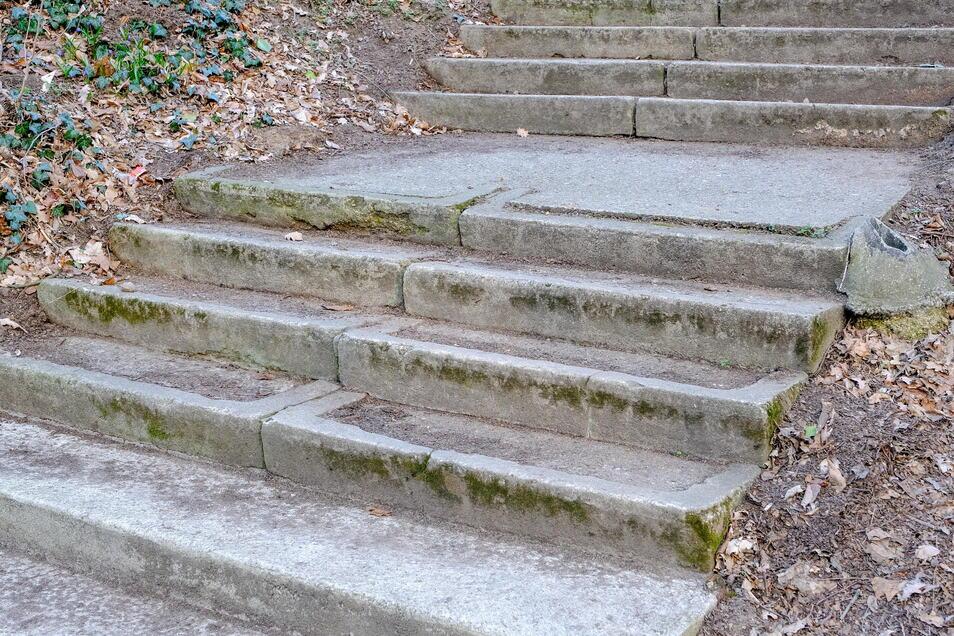 Die Treppenstufen, die von der Moritzburger Straße in den Waldpark führen, sind sehr verschlissen.
