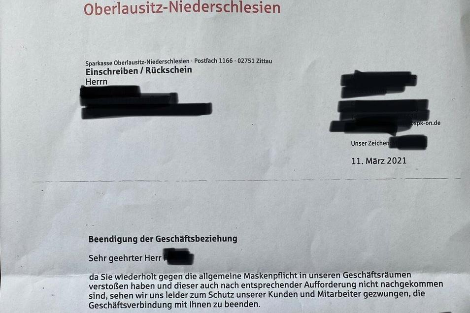 Das Kündigungs-Schreiben der Sparkasse.