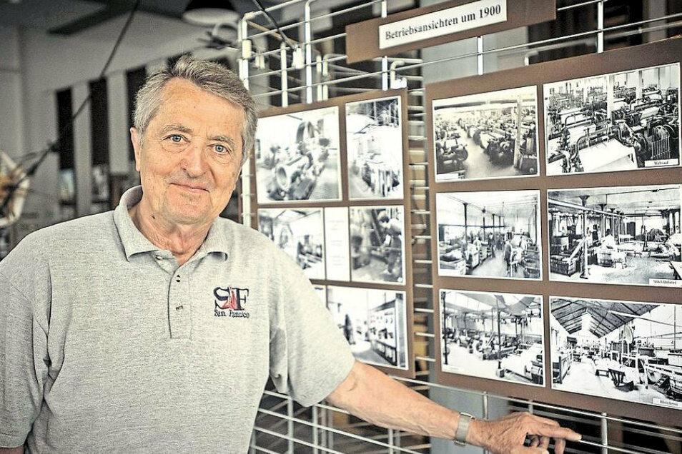 Bernd Franke, hier im Großröhrsdorfer Industrie- und Bandmuseum, wurde jetzt für seine ehrenamtliche Arbeit geehrt.