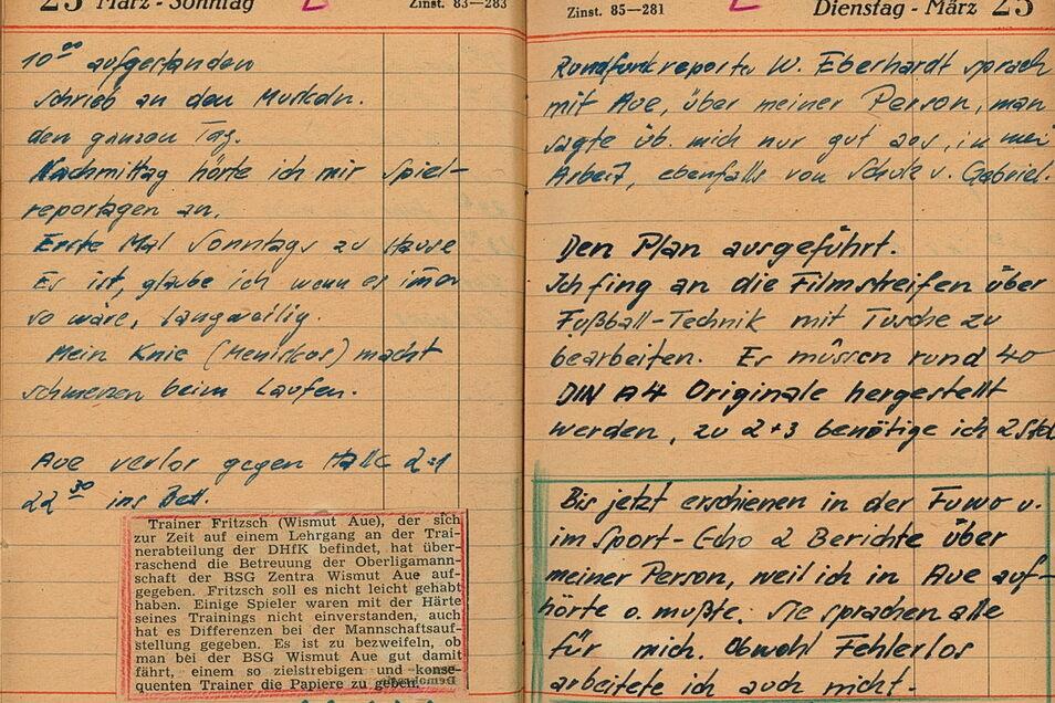Zwei typische Seiten im Tagebuch von Walter Fritzsch: Seine Einträge von 23. bis 25. März 1952.