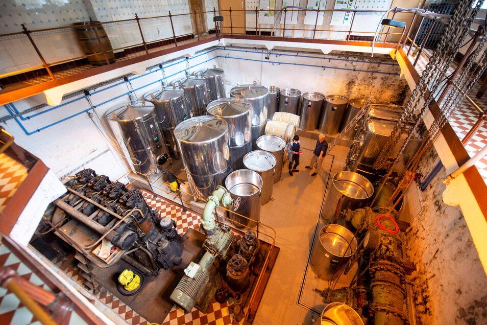 Etwas Ungewöhnliches: Winzer Andreas Henke in Sörnewitz hat seinen Weinkeller in der ehemaligen Pumpstation des Wasserwerks und gab Führungen.