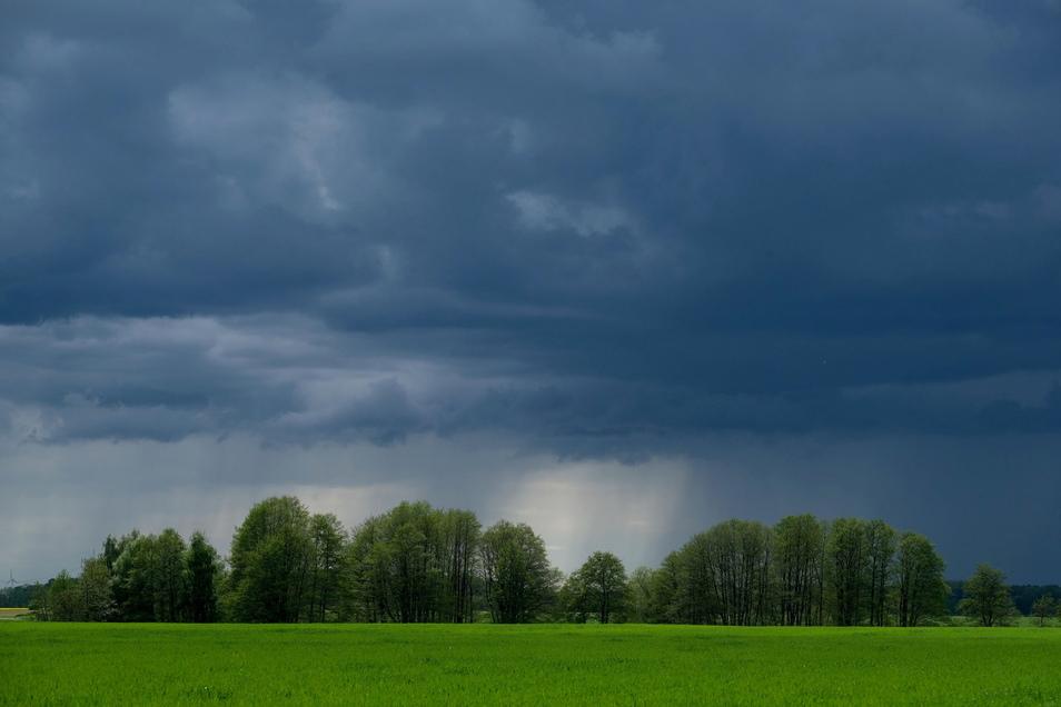 Das Wetter in Sachsen bleibt vorerst wechselhaft - immer wieder kommt es zu Schauern und Gewittern wie hier in Badrina in Nordsachsen.
