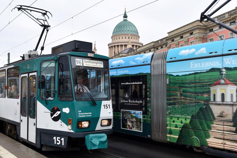 Potsdam: Straßenbahnen sind in der Innenstadt unterwegs, im Hintergrund ist die Nikolaikirche zu sehen.