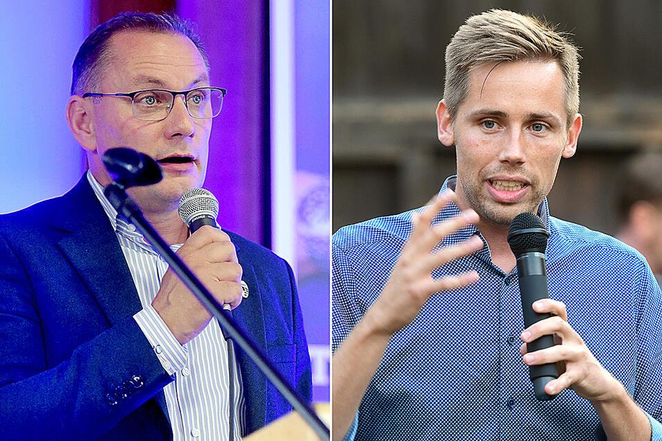 Tino Chrupalla (li) von der AfD will sein Direktmandat an der Neiße verteidigen - für ihn hängt viel dran. Florian Oest von der CDU will den Kreis besser in Berlin vertreten.