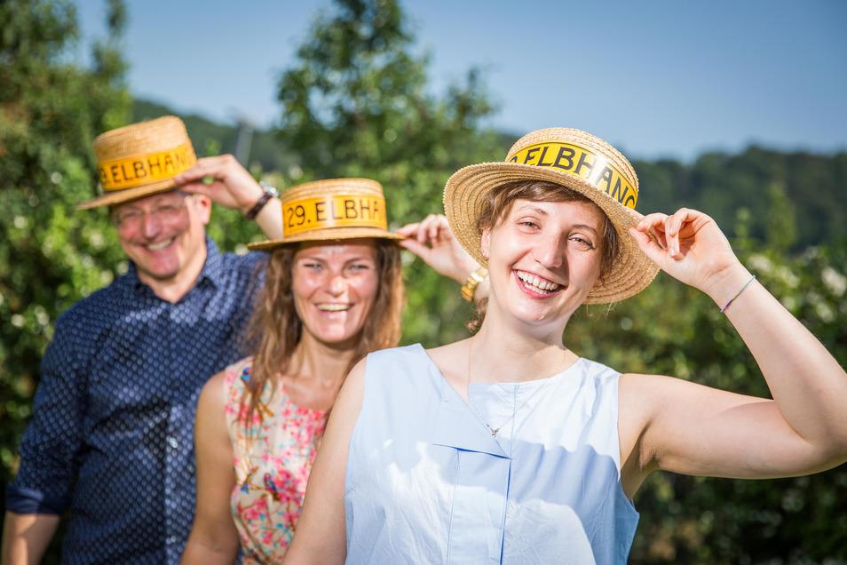 Drei Macher des Elbhangfestesan der Bäckerei Wippler. Lydia Göbel, Jenny Lindner und Holger Friebel.