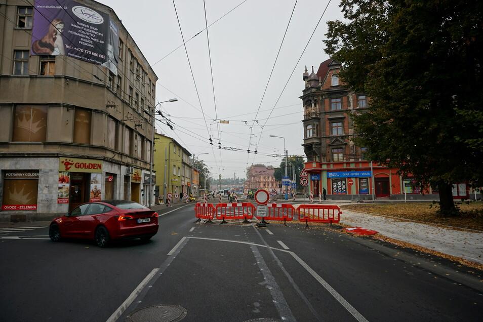 Sperrung mitten in Teplice (Teplitz): Die Masarykova-Straße wird gebaut.