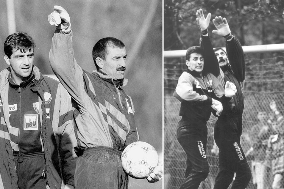Ralf Minge (rechts Foto/l.) war damals erst Co- und später Cheftrainer, René (linkes Foto/l.) Müller kämpfte mit Stanislaw Tschertschessow um die Nummer eins.