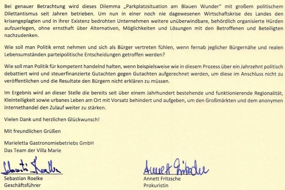 Ein Ausschnitt aus dem Brief der Villa Marie, den die Verantwortlichen im Internet veröffentlicht haben.