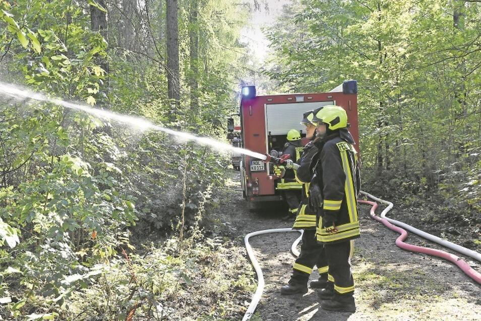 Die Kameraden der Freiwilligen Feuerwehr von Krauschwitz Ost bei einem Waldbrandeinsatz in Richtung der Großen Kaoline bei Gablenz.