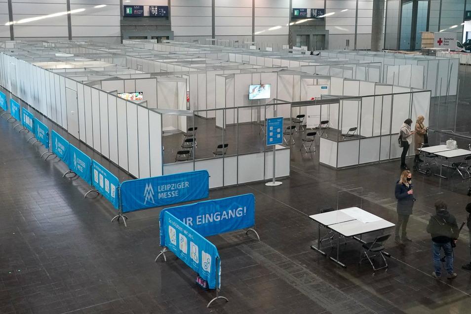 So sieht das künftige Impfzentrum auf der Leipziger Messe aus.
