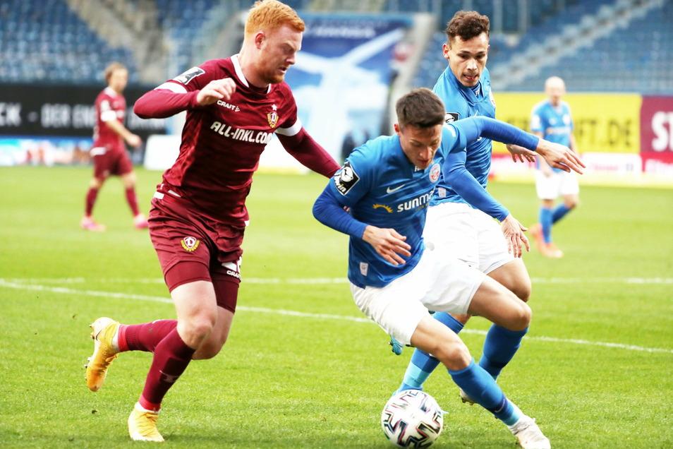 Paul Will fügte sich problemlos in die Startelf von Dynamo ein. In Rostocke machte er ein sehr ordentliches Spiel.