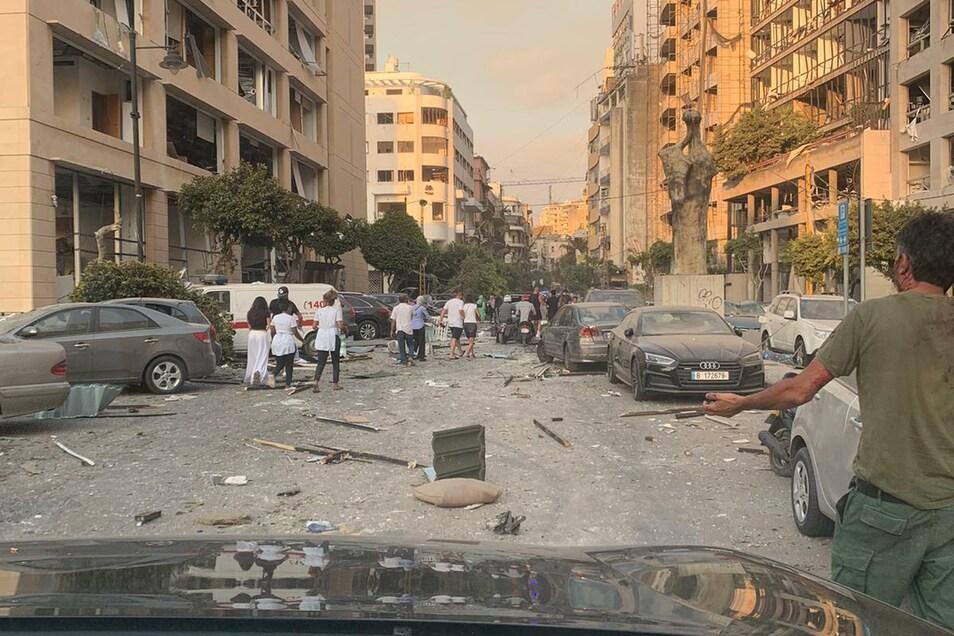 Spuren der Verwüstung kurz nach der Explosion: Noch im Auto filmte und fotografierte Oliver Wehner die Zerstörungen in Beirut.